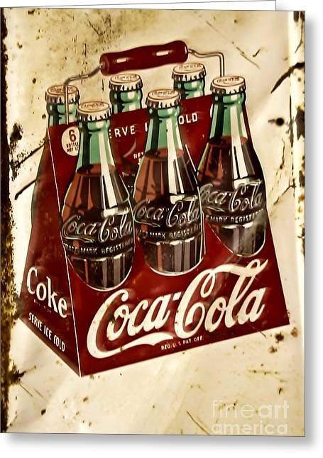 Coca Cola.coke-a-cola Greeting Cards - Coca Cola Rusty Old Sign Greeting Card by JW Hanley