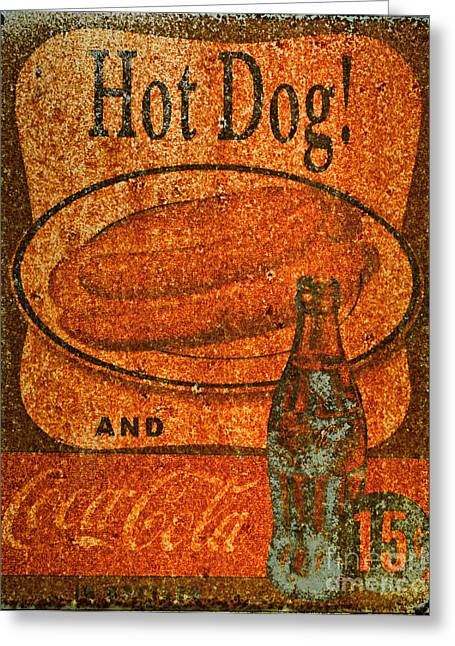Vintage Coca Cola Sign Greeting Cards - Coca Cola Rusty Sign Greeting Card by Paul Ward