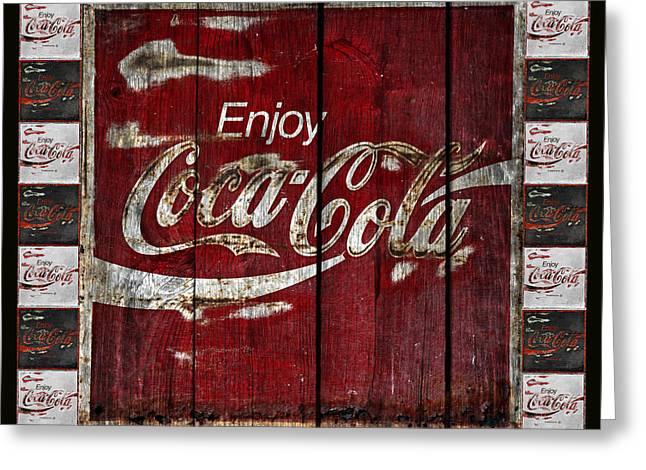 Vintage Coca Cola Sign Greeting Cards - Coca Cola Sign With Little Cokes Border Greeting Card by John Stephens