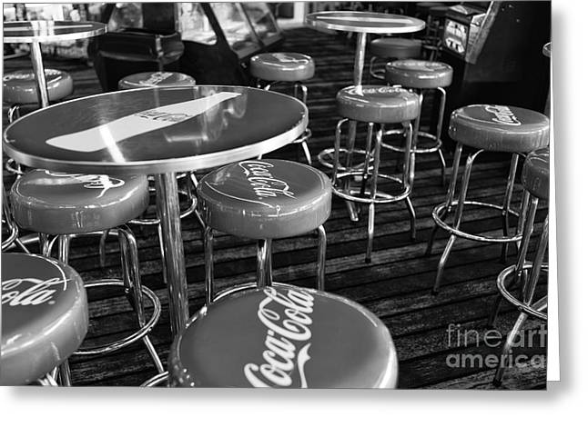 Seaside Heights Greeting Cards - Coca Cola Stools mono Greeting Card by John Rizzuto