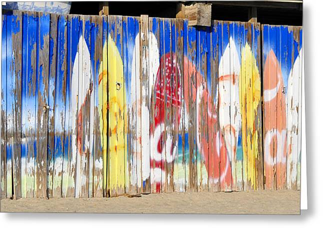 Sand Fences Greeting Cards - Coca Cola surfboard sign Greeting Card by David Lee Thompson