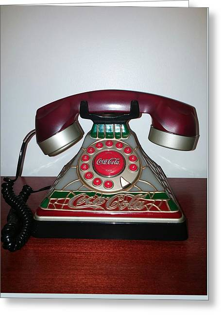 Etc. Paintings Greeting Cards - Coca Cola Vintage Phone Greeting Card by Earnestine Clay