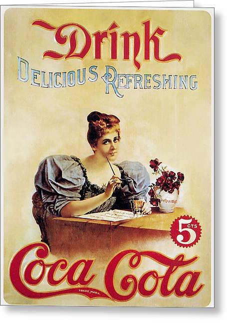 Old Posters Greeting Cards - Coca - Cola Vintage Poster - Drink Delicious Refreshing Greeting Card by Gianfranco Weiss