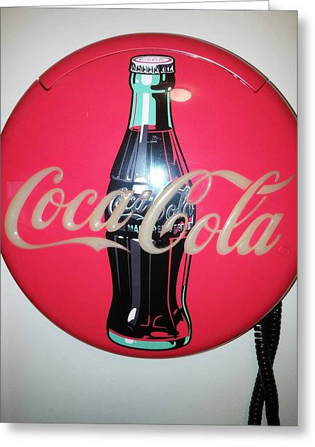 Etc. Paintings Greeting Cards - Coca Cola Wall Phone Greeting Card by Earnestine Clay