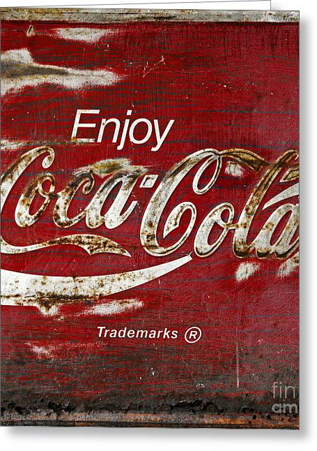 Closeup Coca Cola Sign Greeting Cards - Coca Cola Wood Grunge Sign Greeting Card by John Stephens