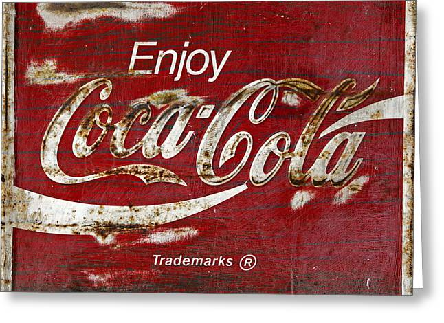 Weathered Coca Cola Sign Greeting Cards - Coca Cola Wood Grunge Sign Greeting Card by John Stephens