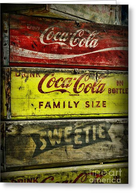 Soft Drink Greeting Cards - Coca-Cola Wooden Crates Greeting Card by Paul Ward