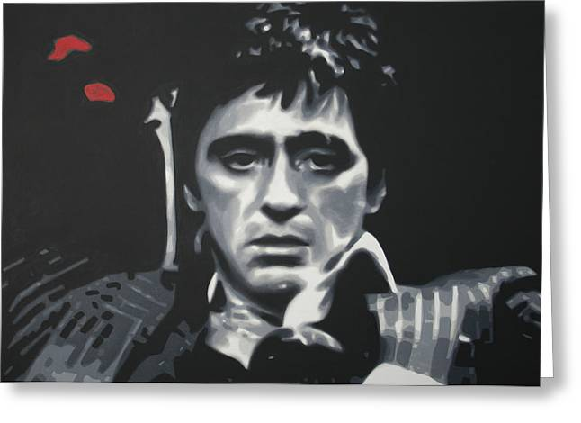 Tony Montana Greeting Cards - Cocaine 2013 Greeting Card by Luis Ludzska