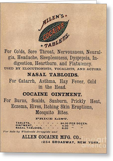 Ointment Greeting Cards - Cocaine Medicine Ad, 1885 Greeting Card by Granger