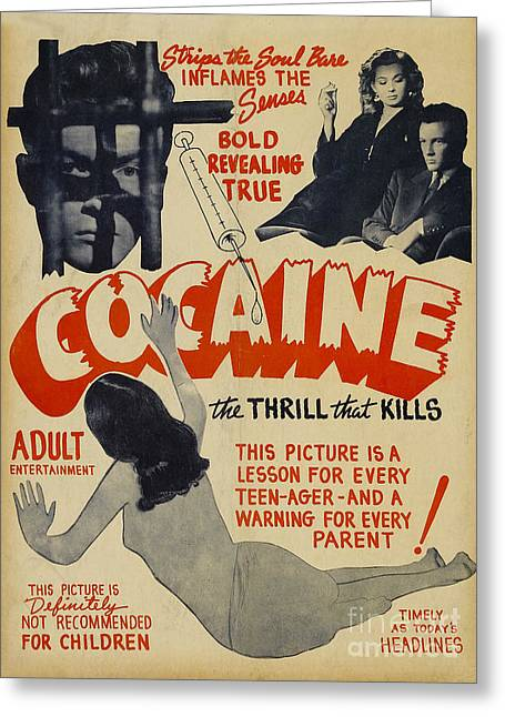 Cocaine Greeting Cards - Cocaine Movie Poster Greeting Card by Jon Neidert