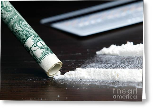Money Problems Greeting Cards - Cocaine Greeting Card by Sinisa Botas