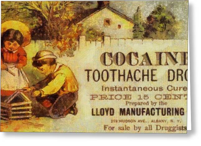 Cocaine Toothache Drops Greeting Card by Dan Sproul