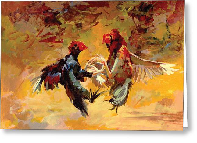 Recently Sold -  - Amazing Sunset Greeting Cards - Cock Fight Greeting Card by Art Tantra