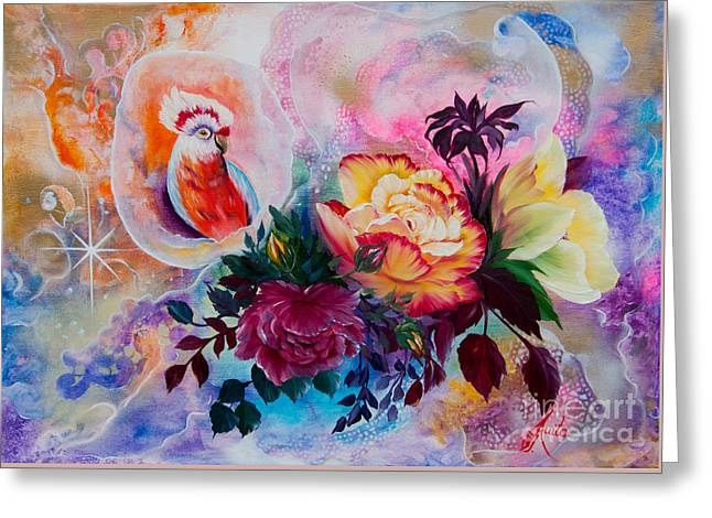 Shower Curtain Greeting Cards - Cockatoo in the Roses Greeting Card by  ILONA ANITA TIGGES - GOETZE  ART and Photography