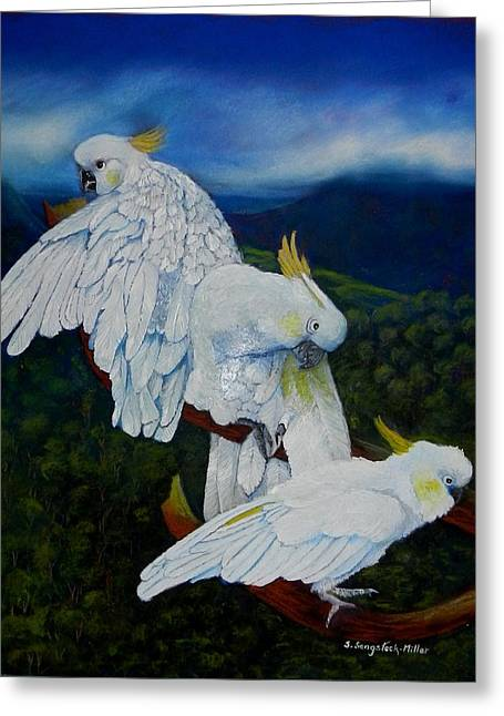 Fauna Pastels Greeting Cards - Cockatoo Lookout Greeting Card by Sandra Sengstock-Miller