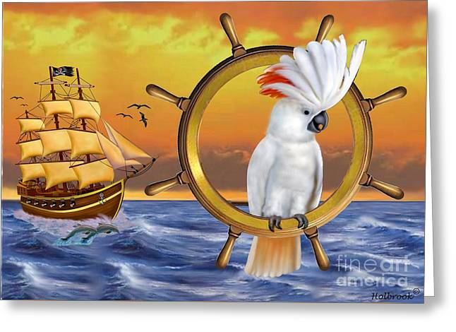 Pirates Greeting Cards - Cockatoo Treasure Quest Greeting Card by Glenn Holbrook