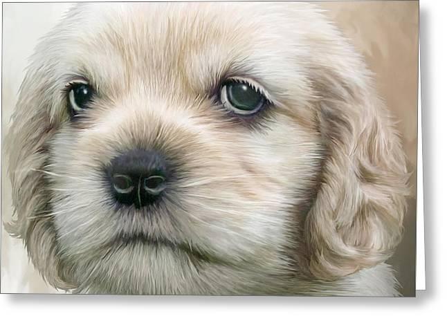 Cocker Pup Portrait Greeting Card by Carol Cavalaris