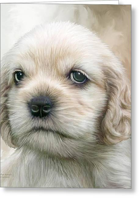 Puppies Mixed Media Greeting Cards - Cocker Pup Portrait Greeting Card by Carol Cavalaris