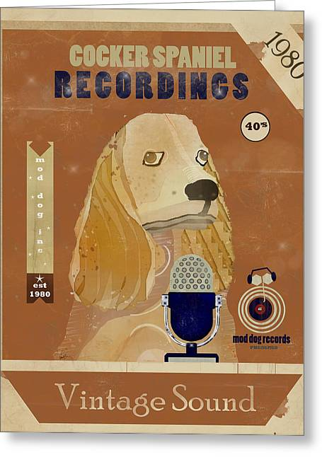 Spaniel Digital Art Greeting Cards - Cocker Spaniel Recordings Greeting Card by Bri Buckley