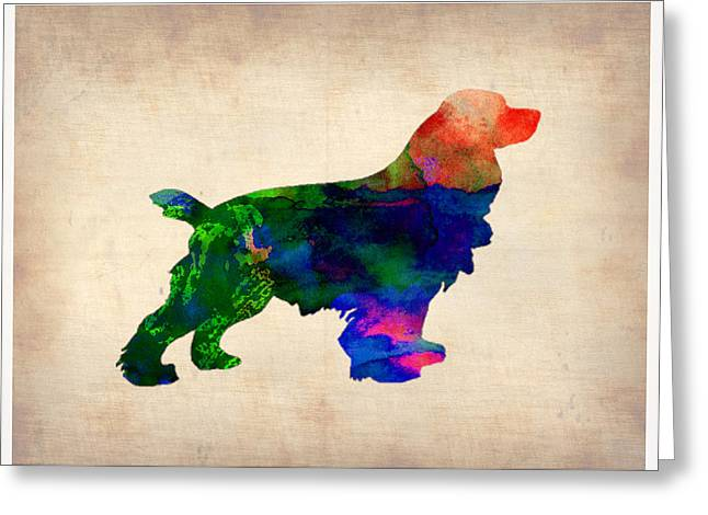 Pet Greeting Cards - Cocker Spaniel Watercolor Greeting Card by Naxart Studio