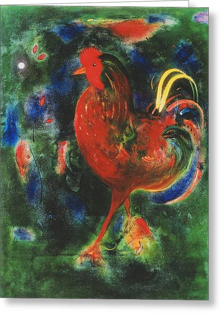Colourful Bird Greeting Cards - Cockerel, 2005 Giclee Print Greeting Card by Jane Deakin
