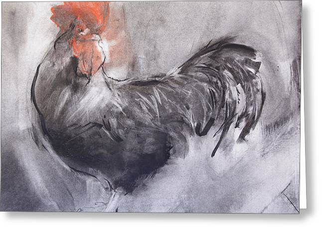 Gray Pastels Greeting Cards - Cockerel  One Greeting Card by Janet Goddard