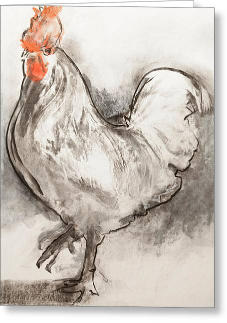 Gray Pastels Greeting Cards - Cockerel  Two Greeting Card by Janet Goddard