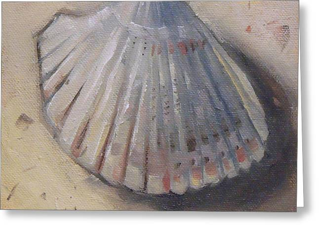 Seashell Picture Paintings Greeting Cards - Cockle Shell Beach Seashell Greeting Card by Mary Hubley
