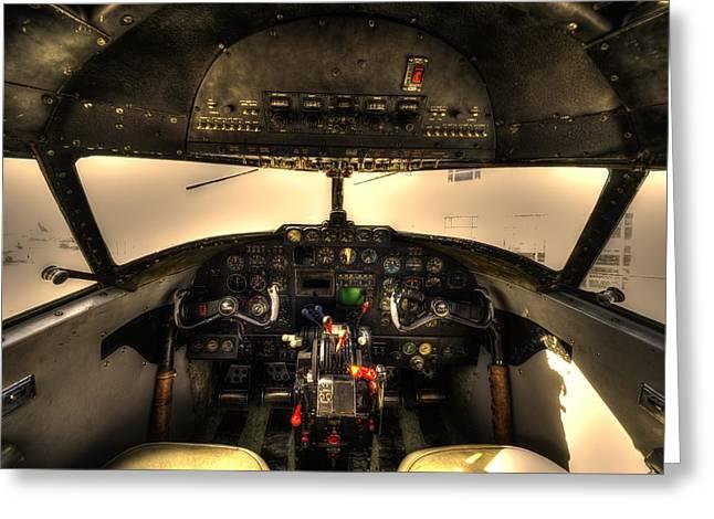 Lockheed Photographs Greeting Cards - Cockpit - Lockheed Model 18 Lodestar Greeting Card by David Morefield