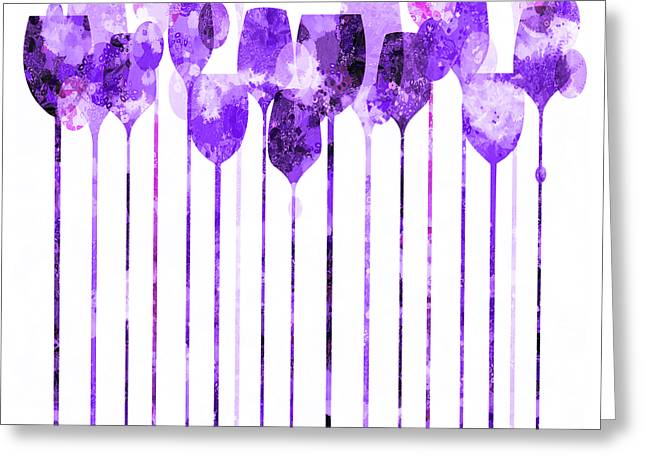 Purple Grapes Mixed Media Greeting Cards - Cocktail Hour 4 Version 3 Greeting Card by Angelina Vick
