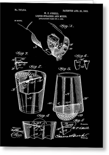 Strainer Greeting Cards - Cocktail Mixer and Strainer Patent 1902 - Black Greeting Card by Stephen Younts