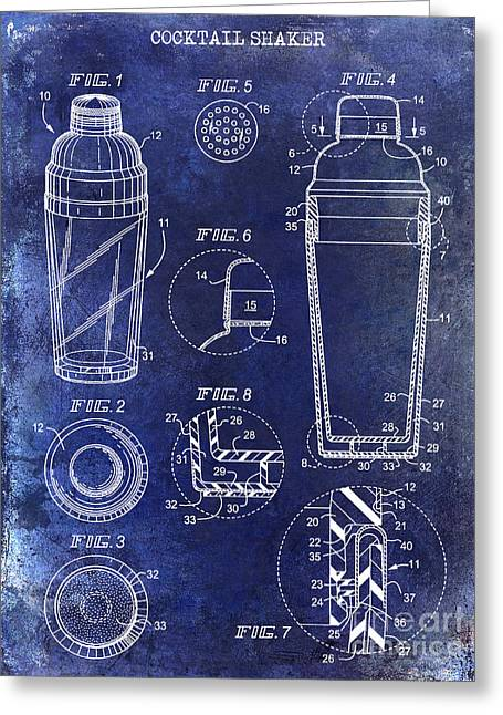 Mixed Drink Greeting Cards - Cocktail Shaker Patent Drawing Blue Greeting Card by Jon Neidert