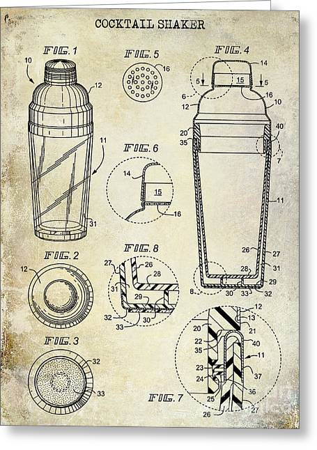 Mixed Drink Greeting Cards - Cocktail Shaker Patent Drawing Greeting Card by Jon Neidert