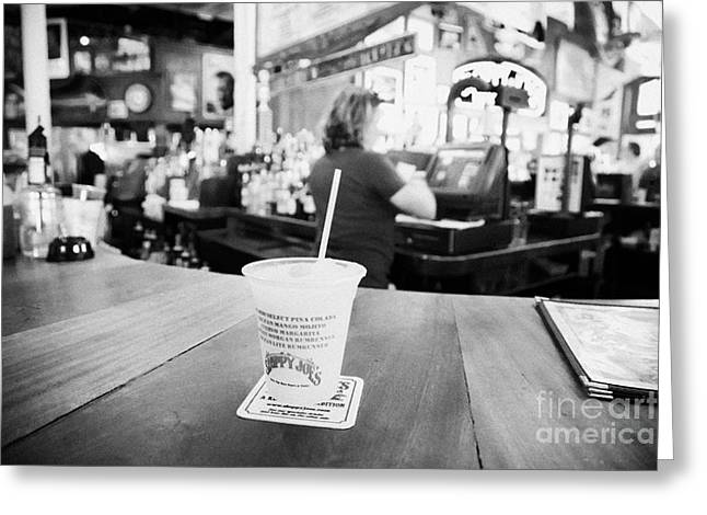 Cocktail Slushie Drink In Sloppy Joes Bar Duval Street Key West Florida Usa Greeting Card by Joe Fox