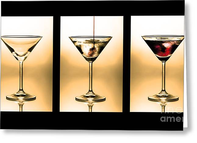 Lifestyle Photographs Greeting Cards - Cocktail triptych in gold Greeting Card by Jane Rix