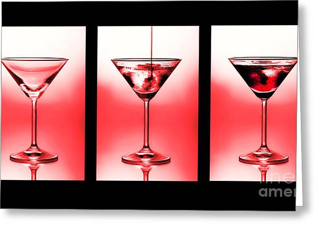 Lifestyle Greeting Cards - Cocktail triptych in red Greeting Card by Jane Rix