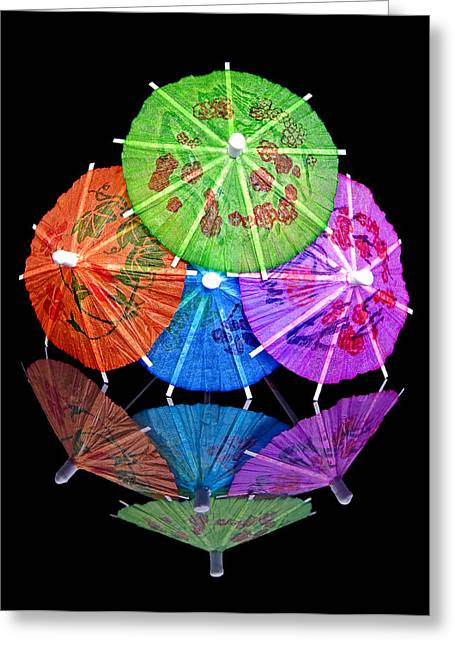 Mixed Drink Greeting Cards - Cocktail Umbrellas Reflected Greeting Card by Tom Mc Nemar