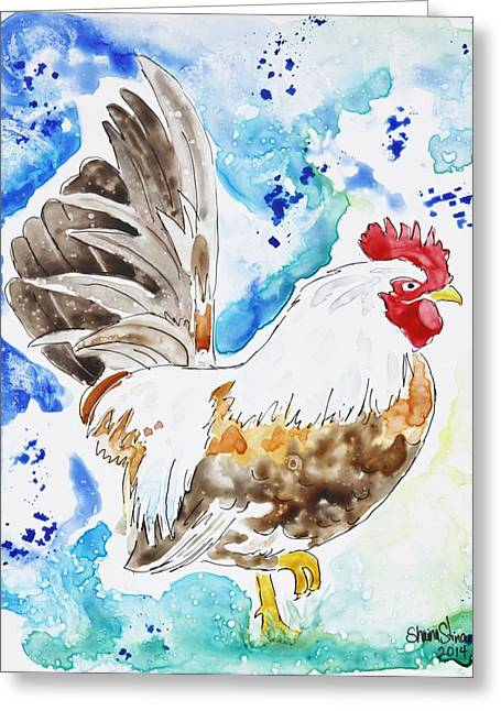 Pen And Paper Greeting Cards - Cocky Greeting Card by Shaina Stinard