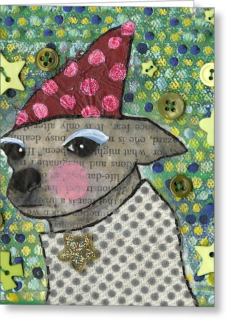 Chihuahua Abstract Art Greeting Cards - Coco #2 Greeting Card by Jen Kelly Hirai