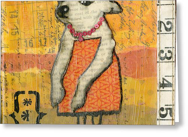 Chihuahua Abstract Art Greeting Cards - Coco #4 Greeting Card by Jen Kelly Hirai