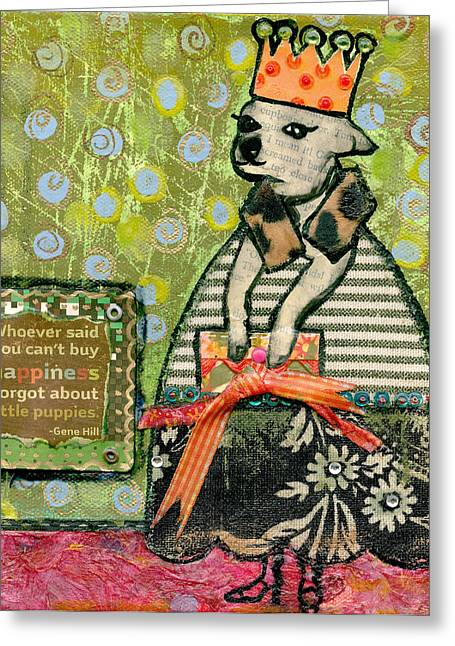 Chihuahua Abstract Art Greeting Cards - Coco #5 Greeting Card by Jen Kelly Hirai