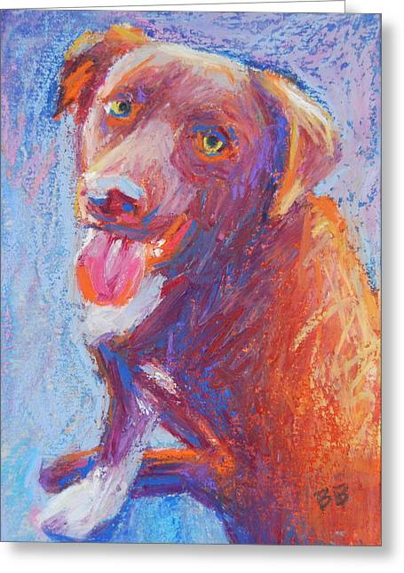 Chocolate Lab Pastels Greeting Cards - Coco Greeting Card by Bethany Bryant