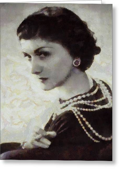 Coco Chanel Greeting Card by Dan Sproul