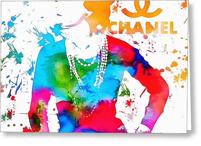 Orange Earrings Greeting Cards - Coco Chanel Paint Splatter Greeting Card by Dan Sproul