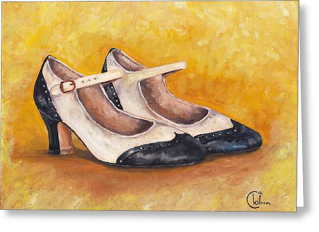 Shoe Art Greeting Cards - Coco Chanels 1920s Mary-Janes Greeting Card by Cecely Bloom