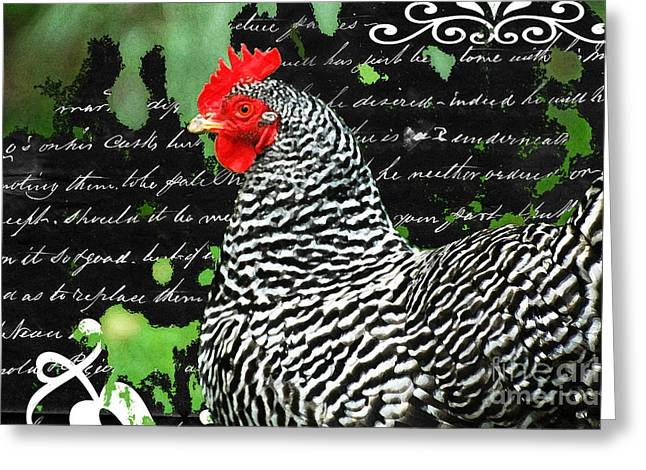 Red Farmhouse Greeting Cards - Coco French Country Chicken Print Greeting Card by adSpice Studios