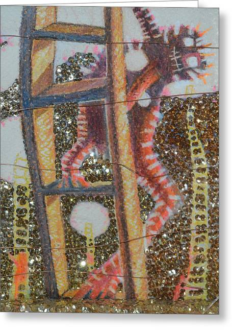 Sequin Drawings Greeting Cards - Coco T Greeting Card by Nancy Mauerman