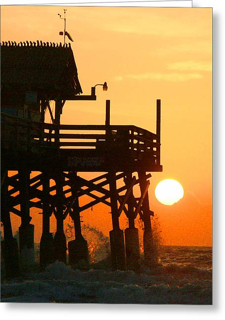 Surfing Art Mixed Media Greeting Cards - Cocoa Bch Pier Greeting Card by W Gilroy