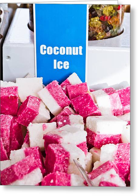 American Food Greeting Cards - Coconut ice Greeting Card by Tom Gowanlock