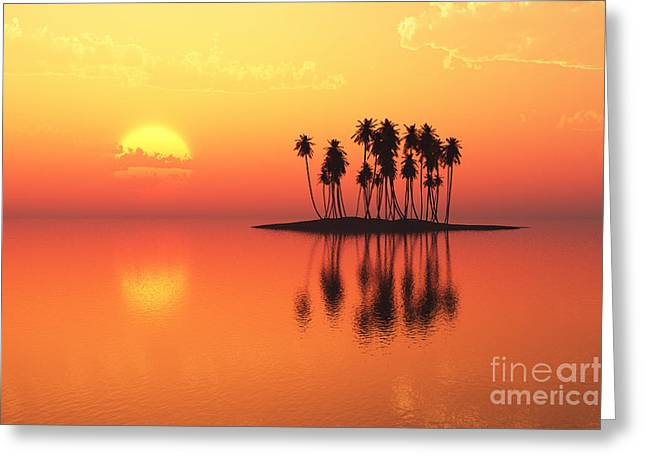 Ocean Scenes Greeting Cards - Coconut Island Greeting Card by Aleksey Tugolukov